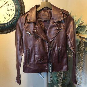 Blank NYC burgundy vegan leather Moto jacket